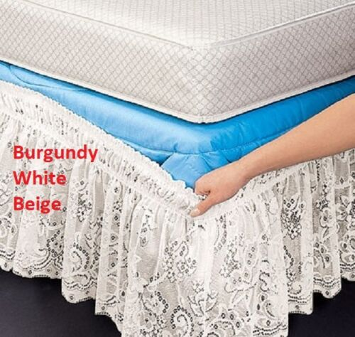 """Lace Wrap Around Bed Dust Ruffle White Beige Burgundy 14"""" Drop Wrinkle Free NEW"""