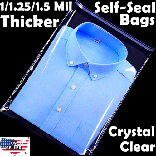 9x12 Poly Clear Plastic Bags 100/500/1K Self Adhesive T-Shirt Apparel Resealable