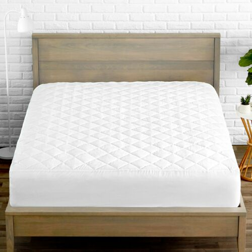 Premium Quilted Fitted Mattress Pad - Cooling Mattress Topper - Hypoallergenic
