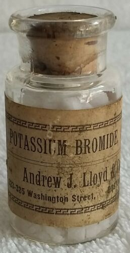 Antique Glass Bottle of Potassium Bromide - Andrew J. Lloyd & Co. Boston, Mass.