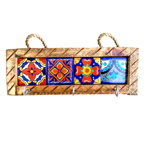 Key Holder with Metal Hooks and Colorful Talavera Assorted Tiles  Mexican Style