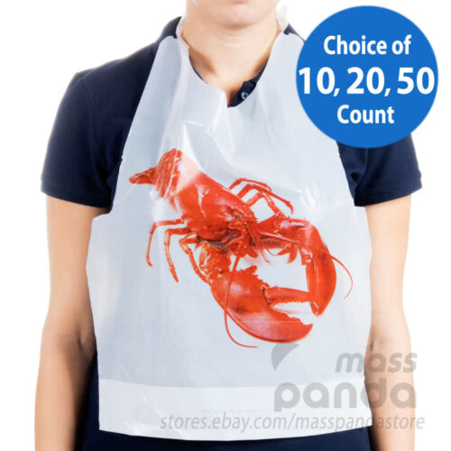 Royal Disposable Adult Size Poly Lobster Bibs with tie, Lightweight High Quality