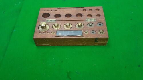 Baird & Tatlock Brass Weights Wooden Box Antique Scientific Equipment