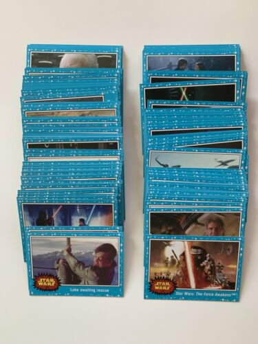2015 Star Wars Topps Journey to The Force Awakens Complete Blue Set of 110