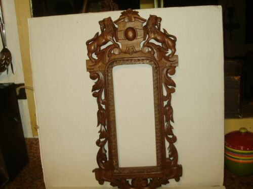 ANTIQUE 1920'S GOTHIC WOODEN OAK LIONS FRAME PANEL SALVAGED!# 1708