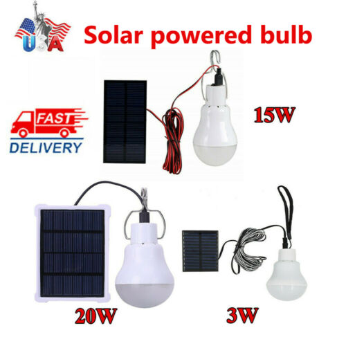 Solar Panel Powered LED Lights Bulb Light  Tent Lamp Yard Camping Outdoor Indoor