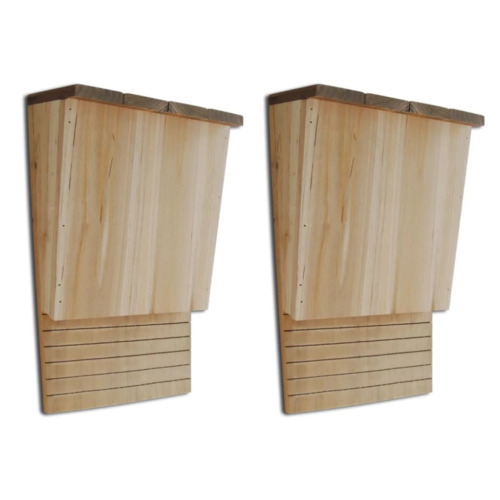 vidaXL 2x Bat House Wooden Single Chamber Handcrafted Nest Mosquito Control