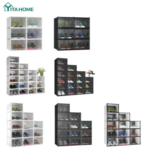 YITAHOME 6/12/18 PCS Shoe Storage Box Sneaker Case Stackable Container Clear XL