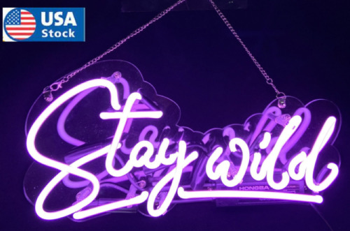 """17"""" Stay Wild Neon Signs Grass Wall Decor Real Glass Neon Sign Shipping from US"""