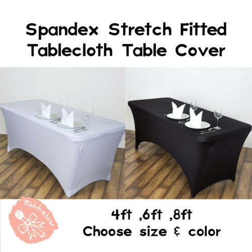 Spandex 4ft , 6ft , 8ft  Stretch Fitted Tablecloth Table Cover Wedding Event