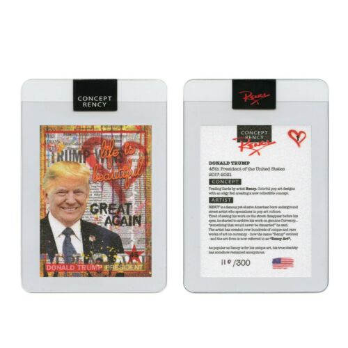 DONALD TRUMP President Pop Art DIAMOND DUST Trading Card by Rency S/N of 300