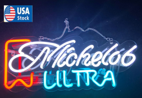 New Michelob Ultra Beer Bar Neon Signs Bar Cub Decor Real Glass Sign
