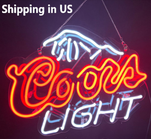"""17"""" Coors Light Neon Signs Beer Cave Real Glass Handmade Sign USA Stock"""