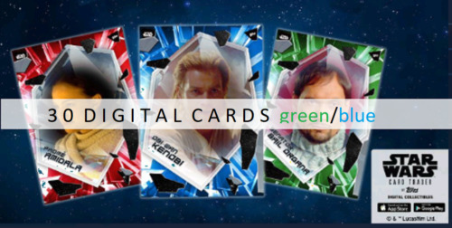 Topps Star Wars Card Trader FRACTURED 2021 AOTC (30 BLUE/GREEN CARDS)