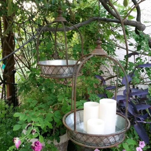 Antique Cottage Style Metal Hanging Garden Basket Set of 2