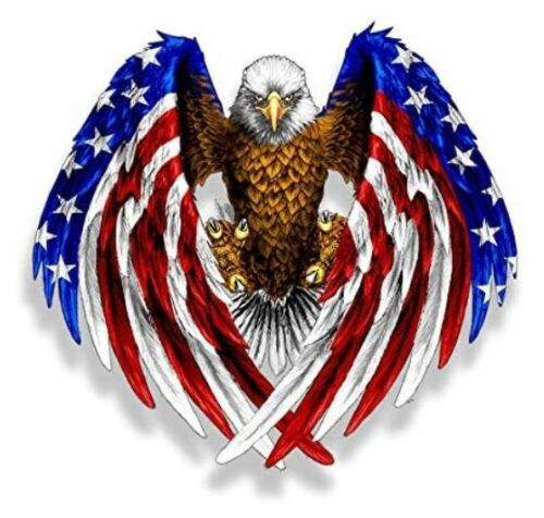 Bald Eagle American Flag Sticker Decal (Select your Size)