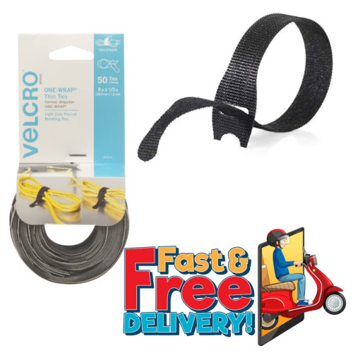 """50 Ties Cable Cord Wraps Reusable Straps 8"""" x 1/2"""" Die Cut Thin VELCRO Brand"""