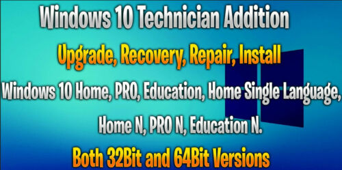 Bootable Windows 10 Recovery USB 32bit and 64Bit in one USB drive All versions