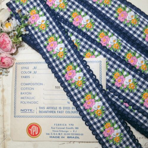 12y BOLT VTG COTTON NAVY BLUE PINK FLOWER CHECK PLAID RIBBON TRIM FRENCH DOLL