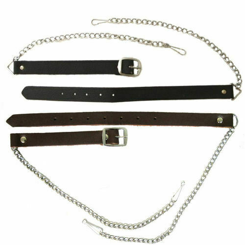 """Scottish Leather Sporran Belt and Chain 30-48"""", 48-60"""". 61-70""""  inches"""
