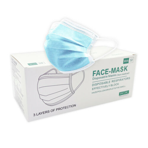 50 PCS Disposable Face Mask 3 Ply TGA Dust Filter Masks Protective 98% 3 Layer