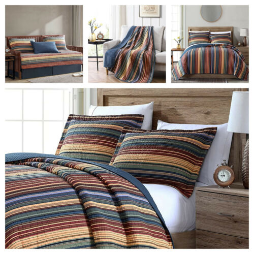 Pre-Washed Cotton Quilt Set Multi-Striped Reversible Bedspread Daybed Coverlet