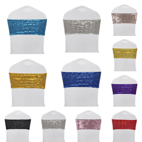 Spandex Chair Sashes Bows Elastic Chair Bands with Buckle Slider  Sequins 10/25