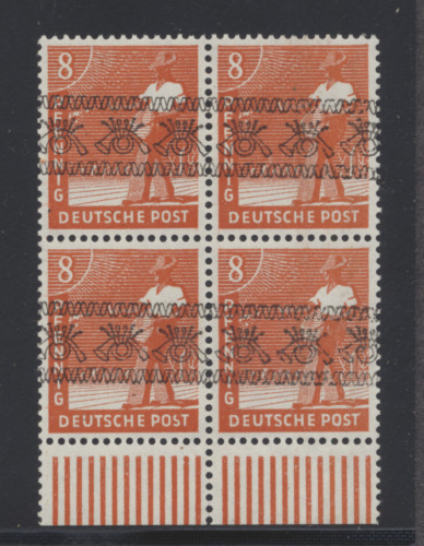 Germany 1948 8pf Sowing Seeds block w/ INVERTED Posthorn overprint VF NH