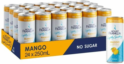 Mount Franklin Lightly Sparkling drinks 24 x 250mL (Natural Water, mango, lime.)