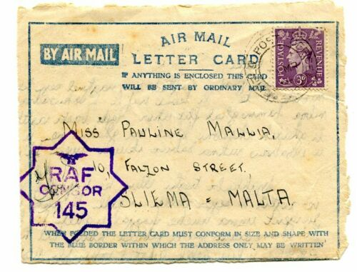 """Malta WWII Air Mail Letter Card front from UK to Malta """"RAF CENSOR 145"""" cancel"""