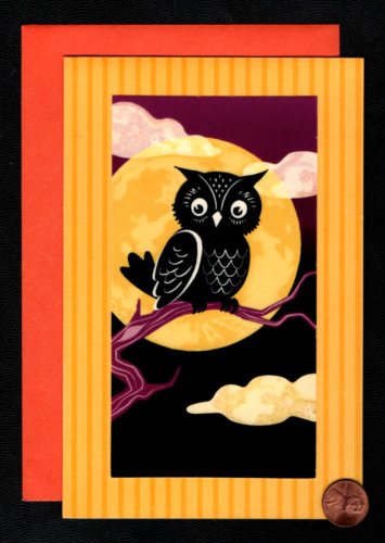 Halloween Owl Branch Full Moon Clouds STAND UP CARD - Greeting Card  W/ TRACKING