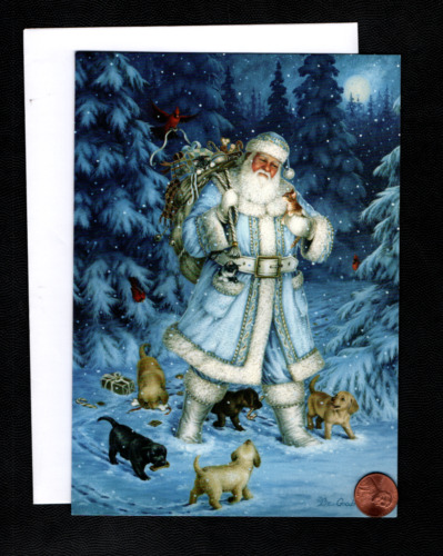 Christmas Santa Blue Coat Puppy Dogs Kittens Cat Toys Snow - Greeting Card