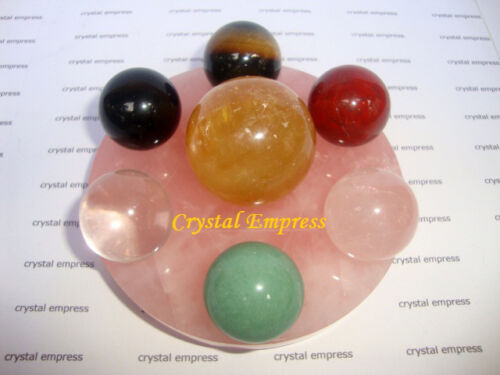 Feng Shui - Small Star of David with 7 Crystal Balls On Rose Quartz Base