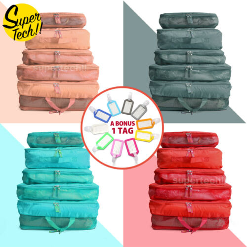 5pcs Packing Cube Pouch Suitcase Clothes Storage Bags Travel Luggage Organiser