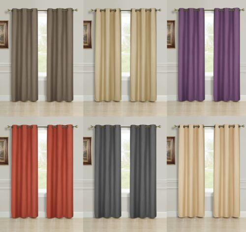 2 PANEL SOLID LINED THERMAL BLACKOUT GROMMET WINDOW CURTAIN DRAPE 2 SIZES K32