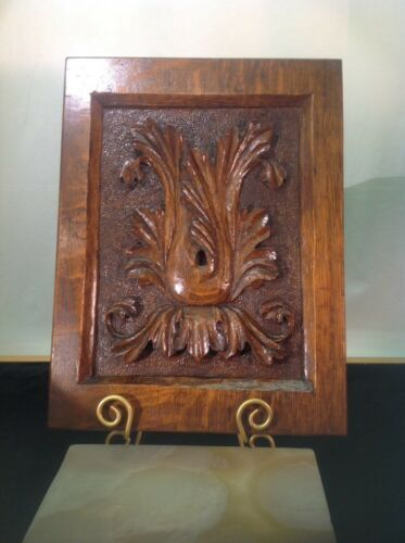 Antique Solid Oak Hand Carved Foliage Architectural Wall Panel 15