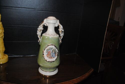 Vintage Antique Olive Green Ceramic Lamp Base 13 in tall with Picture of Colonia
