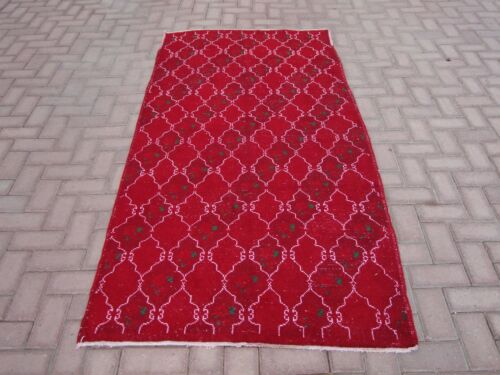 4x7 ft Vintage Antique Turkish Anatolia Red Geometric Handwoven Runner Rug