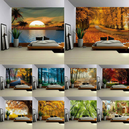 Seasonal Forest Landscape Cloth Painting Bedroom Decor Art Tapestry Wall Hanging