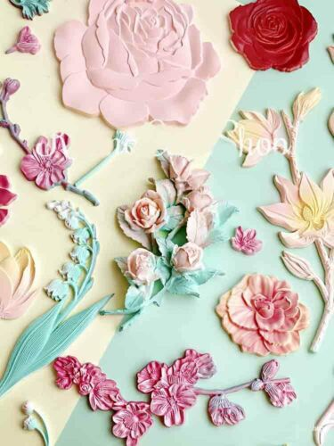 Silicone Flowers Leaves Fondant Mould Cake Decoration Baking Border Topper Mold