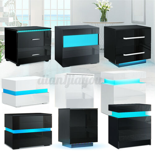 LED Nightstand with 2 Glossy Drawer Modern Bedside End Table Black / White WOODY