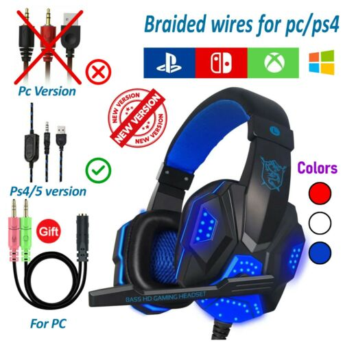 3.5mm Gaming Headset Mic LED Headphones Stereo Bass Surround For PC Xbox One PS4