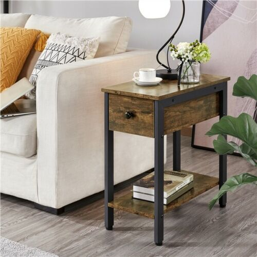 Side Table 2-Tier Nightstand with Drawer Narrow End Table for Small Spaces Used