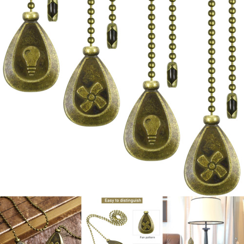 4 Pieces Bronze Pull Chains Ceiling Fan Pull Chain Extension Fan Pull Chain P...