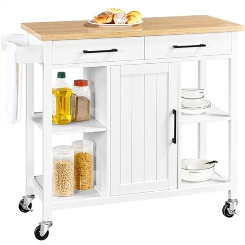 Mobile Kitchen Island Kitchen Cart with Bamboo Top & Storage Cabinets & Drawer