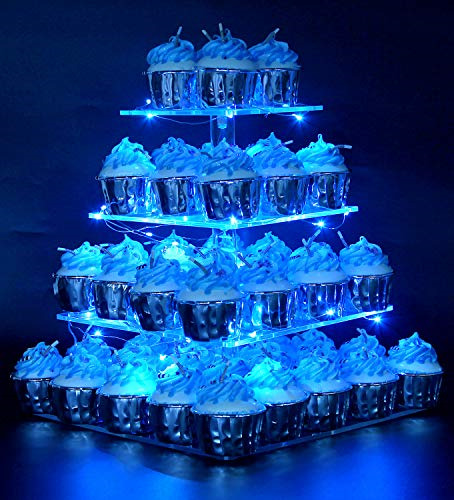 Vdomus Pastry Stand 4 Tier Acrylic Cupcake Display Stand with LED String Lights