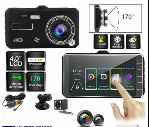 """1080P 4"""" Dual Lens Touch Screen Dash Cam Front and Rear Camera Car Recorder Vide"""