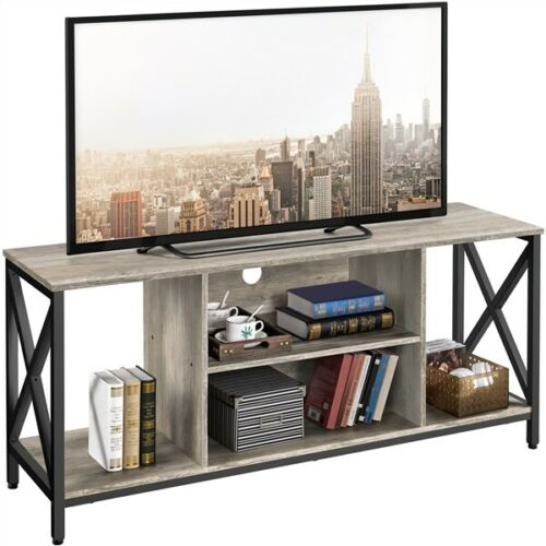 """55"""" TV Stand for TV up to 65+ inch, TV Console Table with Shelves Storage, Gray"""