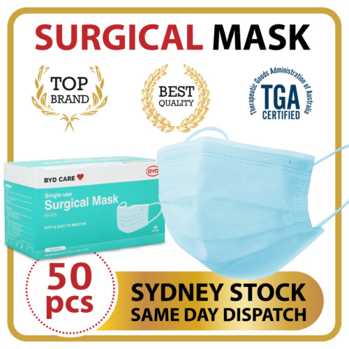 50Pc Surgical Disposable Face Mask Protective Masks 3 layer Meltblown Filter