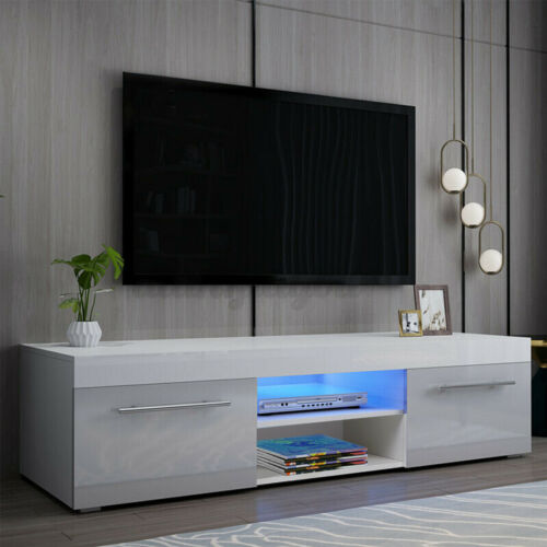 """Modern High Gloss TV Stand Unit w/ LED light +Drawer Cabinet Furniture for 59""""TV"""